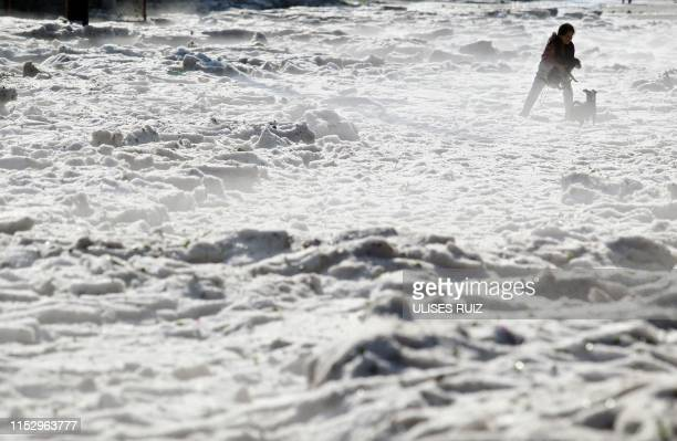 Woman and her dogs walk on hail in the eastern area of Guadalajara, Jalisco state, Mexico, on June 30, 2019. - The accumulation of hail in the...
