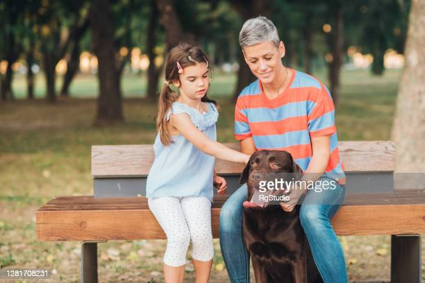 woman and her little daughter enjoying with their dog in the park - off leash dog park stock pictures, royalty-free photos & images