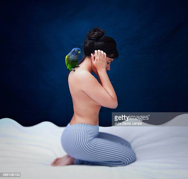 A woman and her parrot