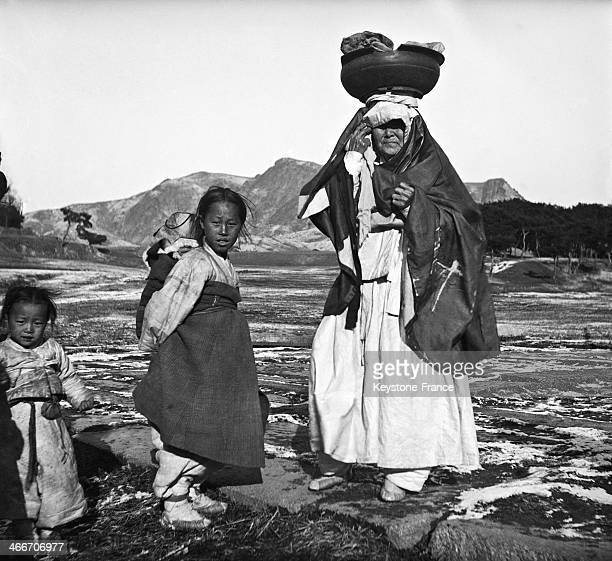 Woman and Little Girls in the Country in China circa 1930