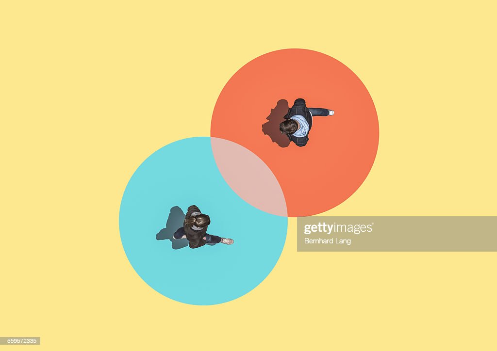 Woman and man crossing, Aerial View : Stock Photo