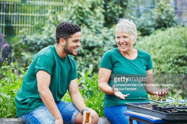 woman and man laughing in community garden - vitality stock pictures, royalty-free photos & images