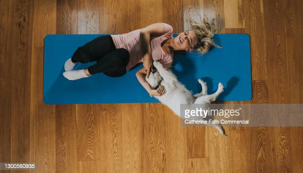 woman and puppy on a yoga mat - wrestling stock pictures, royalty-free photos & images