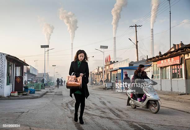 Woman and Smokestacks, Datong, China
