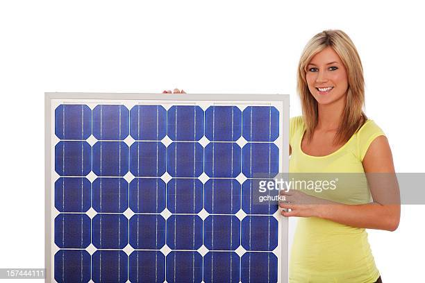 Woman And Solar Panel