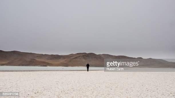 Woman and the salar desert