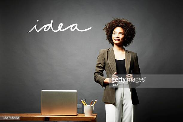 Woman and the word idea