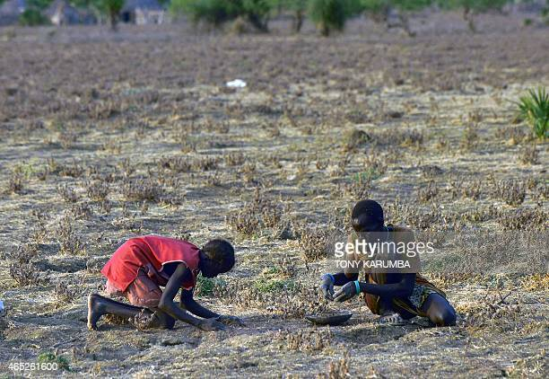 A woman and young girl gather grain off the ground spilt from bags that bust open during an aerial fooddrop over a field at a village in Nyal an...