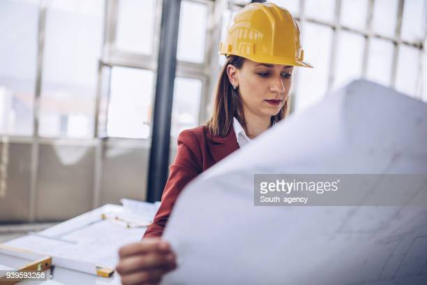 Woman architect at construction site