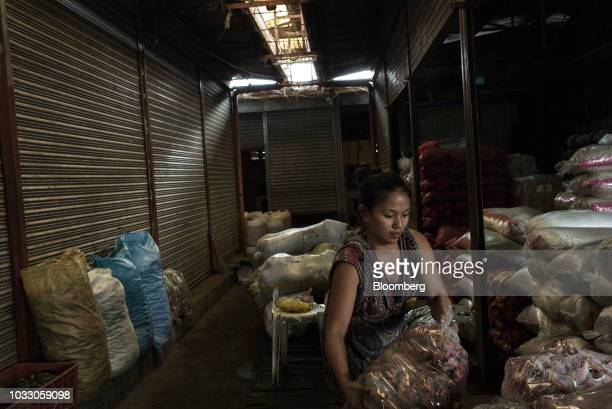 A woman arranges bags of vegetables in her store ahead of Typhoon Mangkhut's arrival in Tuguegarao Cagayan province the Philippines on Friday Sept 14...