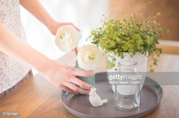 Woman Arranging Flowers At Home