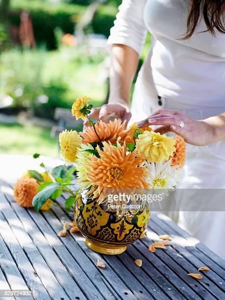 A Woman Arranging Flowers Skane Sweden
