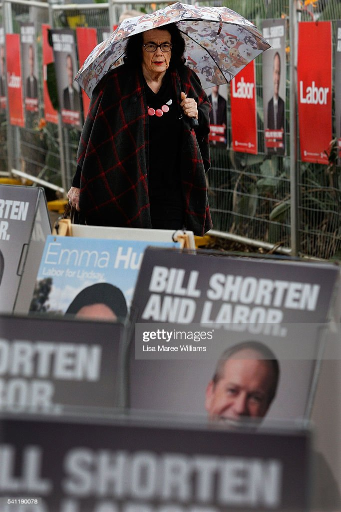 A woman arrives at the Australian Labor Party 2016 Federal Campaign Launch at the Joan Sutherland Performing Arts Centre on June 19, 2016 in Sydney, Australia. Australia will head to the polls on July 2, 2016 folliwng one of the longest campaigns on record.