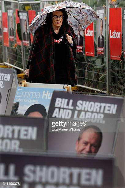 A woman arrives at the Australian Labor Party 2016 Federal Campaign Launch at the Joan Sutherland Performing Arts Centre on June 19 2016 in Sydney...