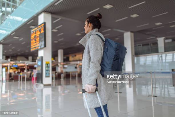 Woman arriving at the airport