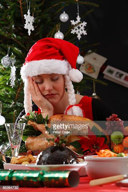 woman asleep with christmas dinner - resting stock pictures, royalty-free photos & images