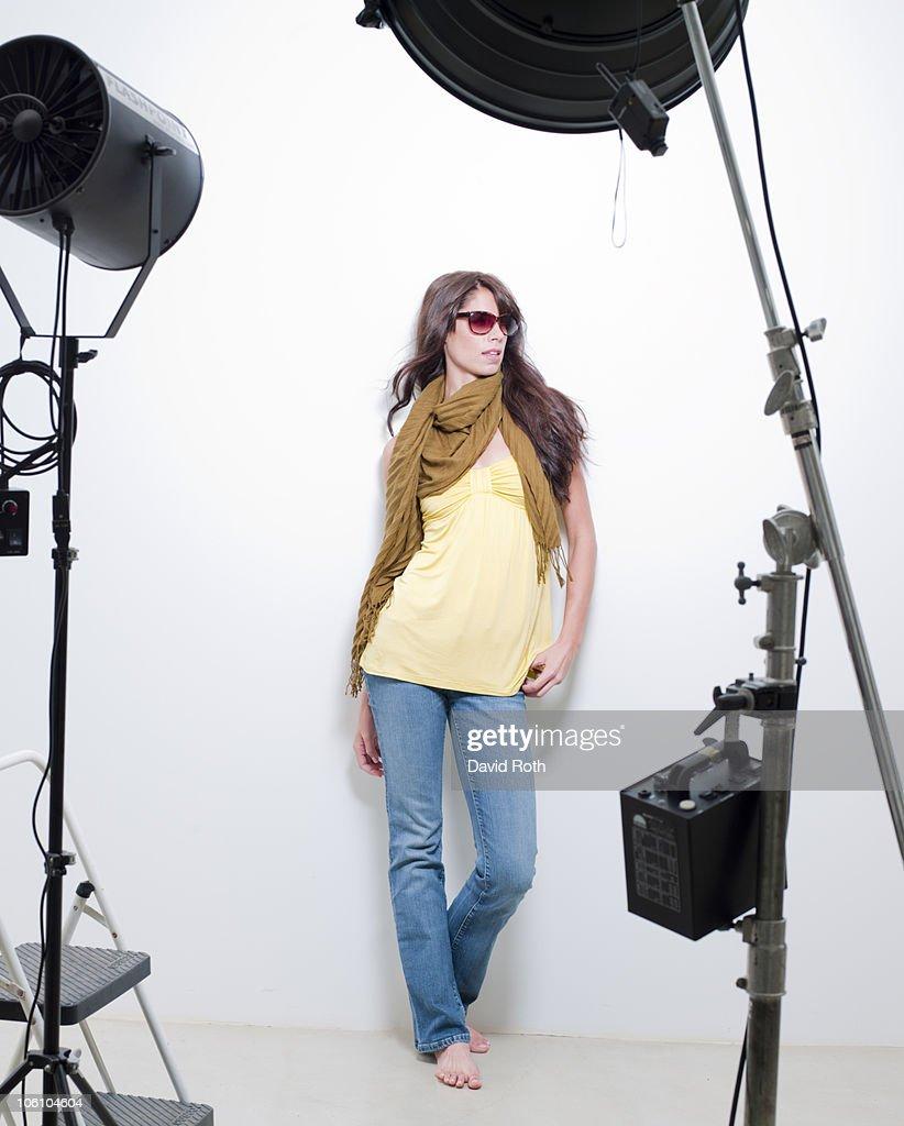 Woman at a fashion shoot : Stock Photo