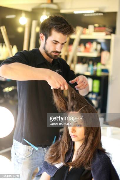 woman at a hair salon - beauty care occupation stock photos and pictures