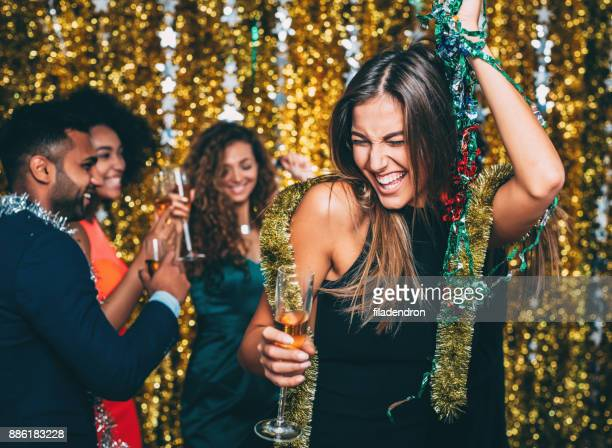 woman at a new year's party - drunk woman stock pictures, royalty-free photos & images