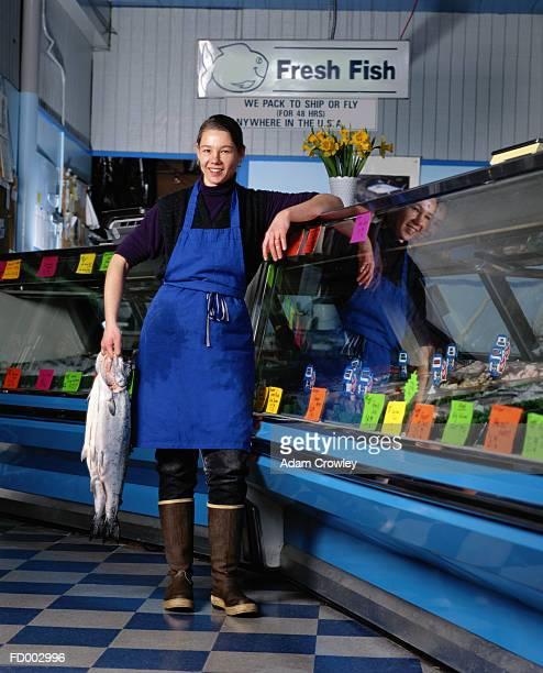 Woman at a Seafood Shop