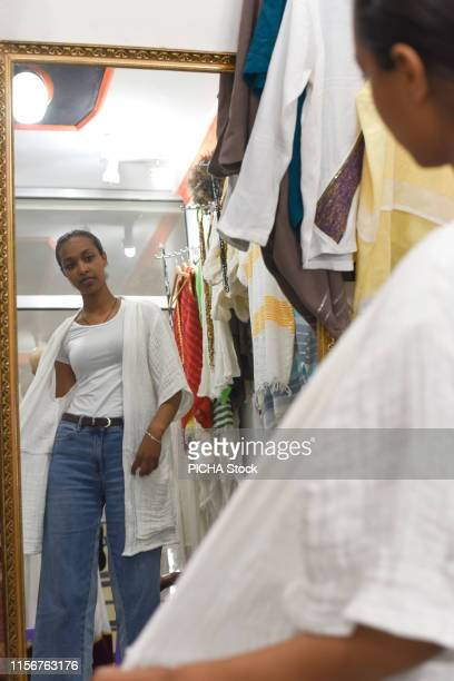 Woman at a tailor shop
