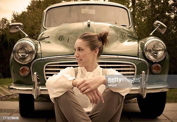 女性のヴィンテージカー