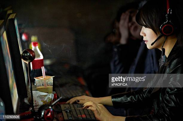 A woman at an internet cafe.