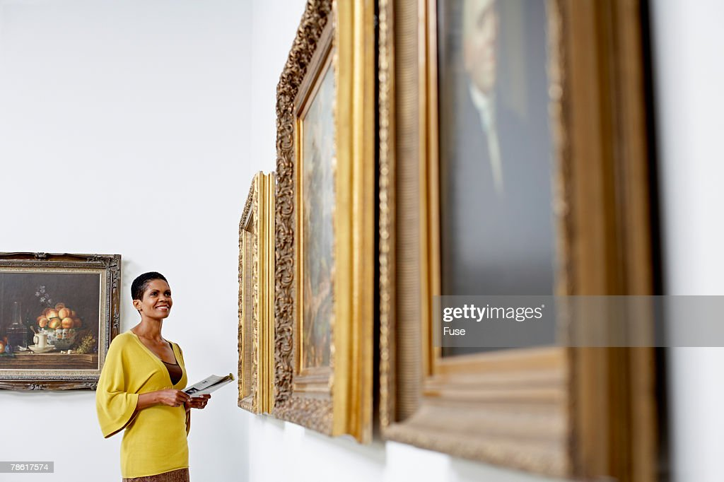 Woman at Art Gallery : Stock Photo