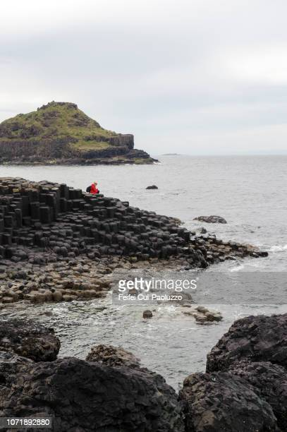 a woman at basalt columns of giant's causeway, northern ireland - feifei cui paoluzzo stock pictures, royalty-free photos & images