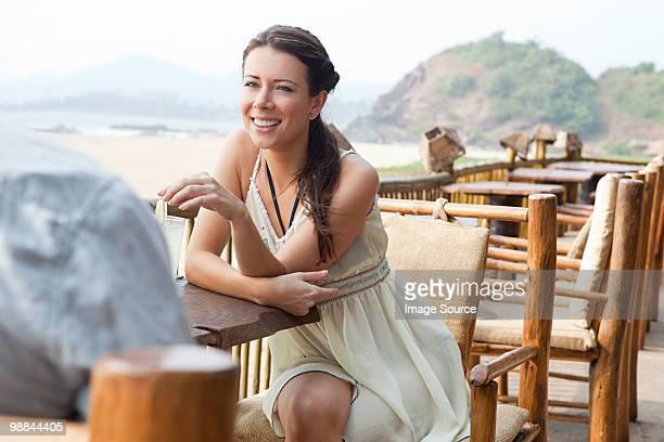 Woman at beach bar