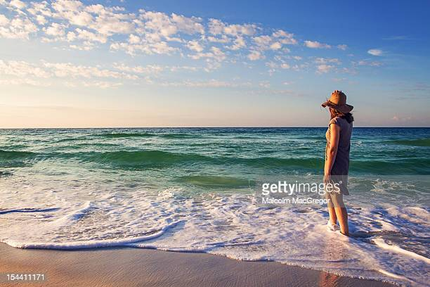woman at  beach - destin beach stock pictures, royalty-free photos & images