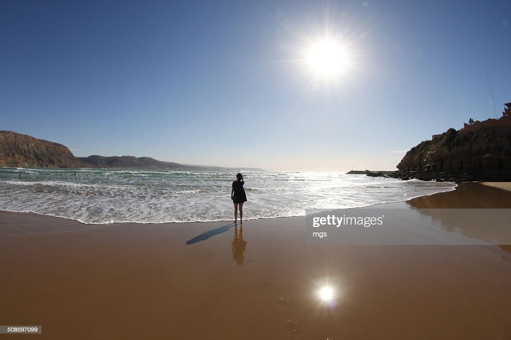 Woman at beach : Foto de stock