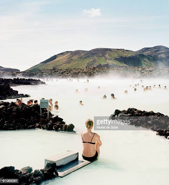 Woman at blue lagoon
