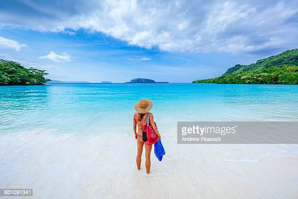 a woman at champagne beach, espiritu santo - vanuatu stock pictures, royalty-free photos & images