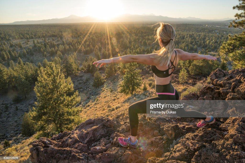 A woman at Deschutes County, Bend at sunset, Oregon  News