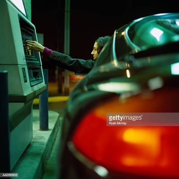 Woman at Drive Through ATM
