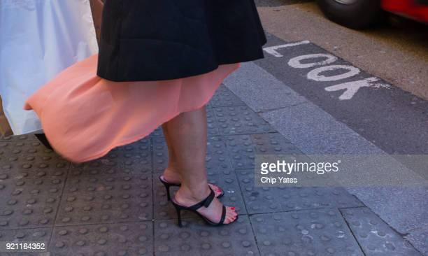 Woman at London Crosswalk