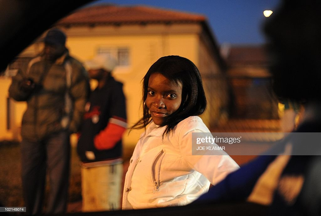 A woman at Mamelodi township in Pretoria on June 16, 2010 during the 2010 World Cup football tournament in South Africa.