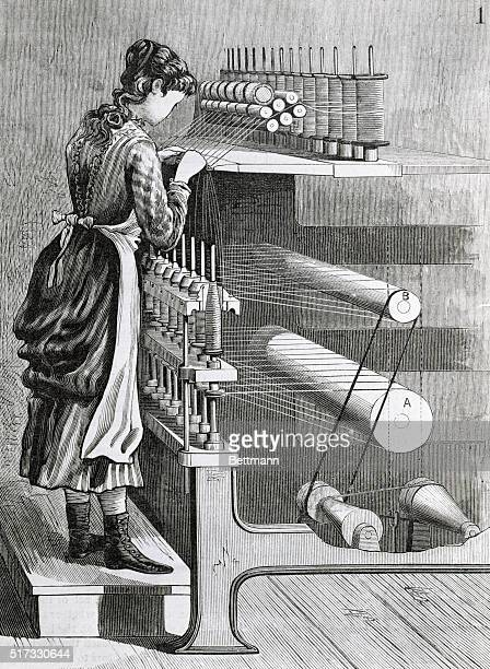 Woman at New England spinning frame of 1882 Woodcut
