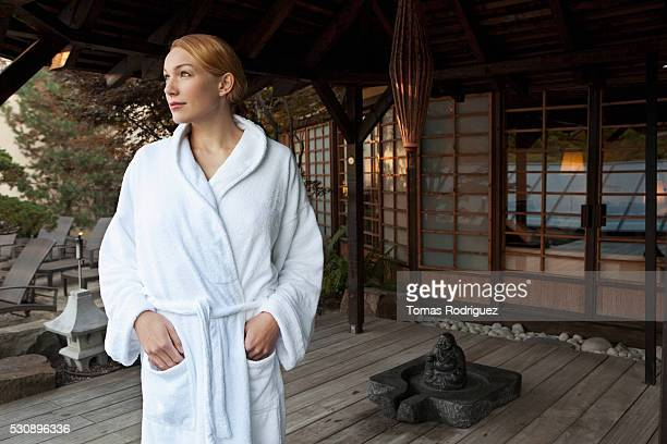 woman at spa - bathrobe stock pictures, royalty-free photos & images