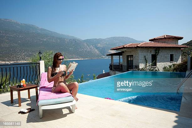 woman at swimming pool - kas stock pictures, royalty-free photos & images