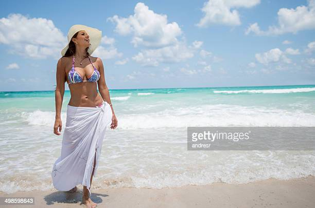 woman at the beach - sarong stock photos and pictures