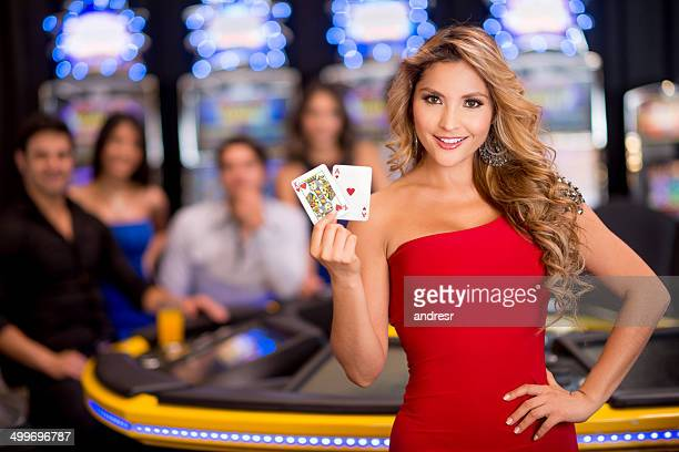 woman at the casino - casino stock pictures, royalty-free photos & images