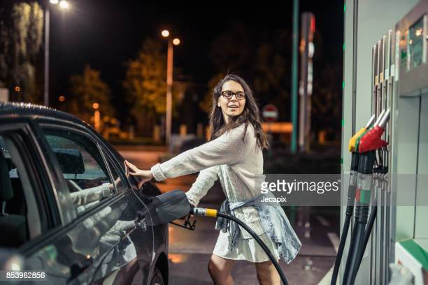 Woman at the gas station
