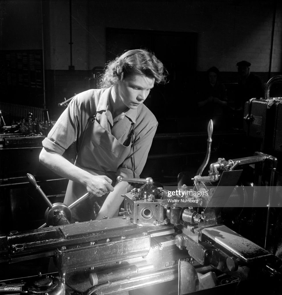 Woman at lathe, Leicester , 1951. : News Photo