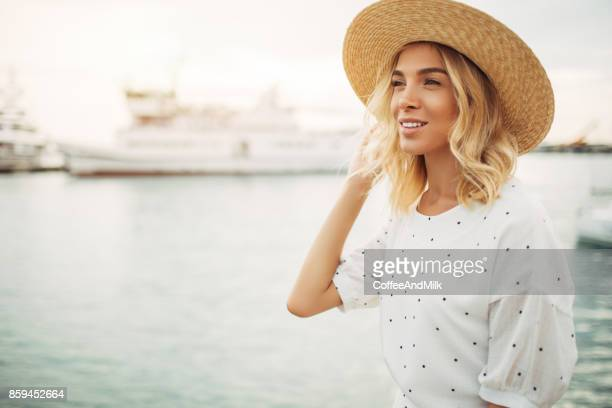 woman at the marina - hot women on boats stock pictures, royalty-free photos & images
