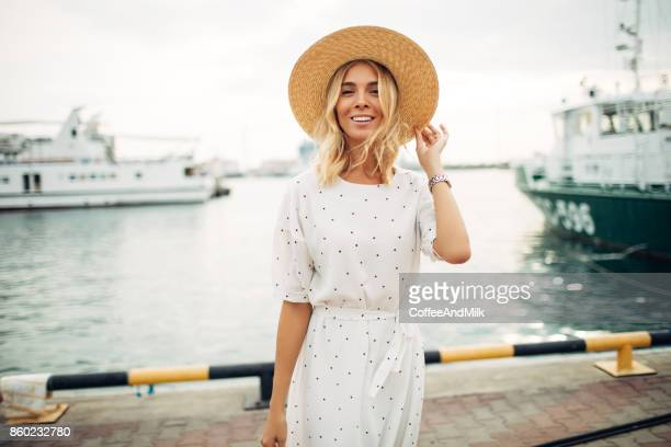 woman at the marina - fashion stock pictures, royalty-free photos & images