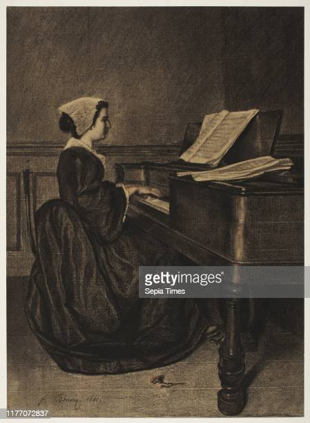 Woman at the Spinet 1860 Francois Bonvin Fabricated black chalk with touches of brown and red chalk and stumping sheet 42 x 305 cm