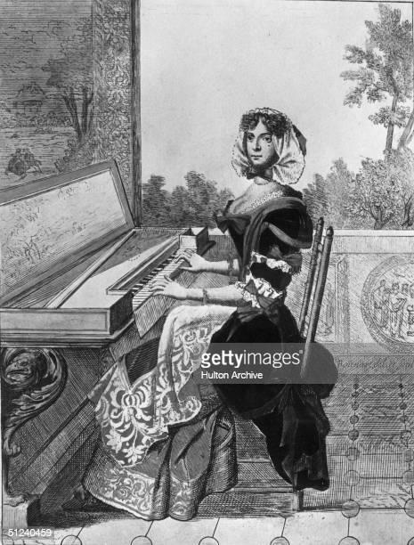 1685 A woman at the spinet Original Artist Bonnart