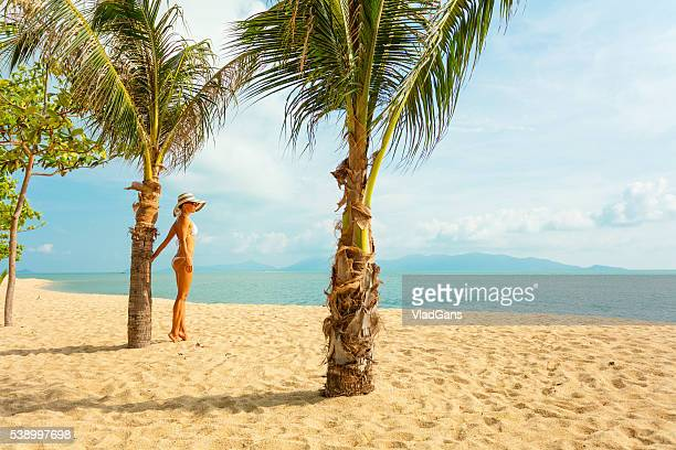woman at tropical beach - vladgans or gansovsky stock pictures, royalty-free photos & images